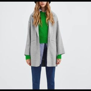 Zara soft fabric coat sz s grey